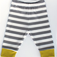 baby leggings, Organic baby leggings in grey stripes, organic baby leggings, printed leggings, baby pants, toddler leggings