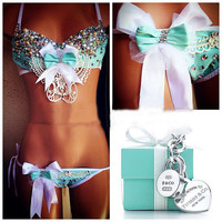 Tiffany Co. Inspired Rhinestone Rave Bra & Bottom, Outfit For EDC, Electric Daisy Carnival, Ultra, EDM Festivals, Tomorrowland