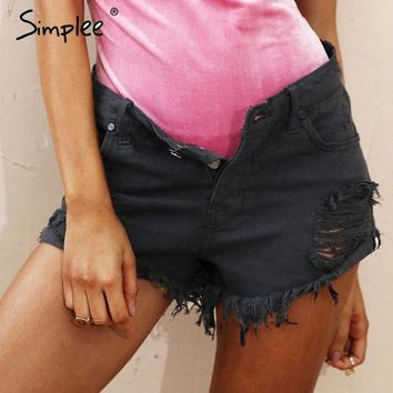 LMF78W Simplee Apparel 50's Vintage ripped hole fringe blue denim shorts women Casual pocket jeans shorts 2016 summer girl hot shorts