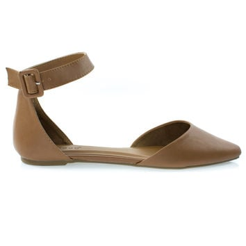 Sequel87M Chestnut Women's Pointed Toe Flat w Double Open Shank d'Orsay Cut & Ankle Strap