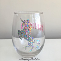 SALE Unicorn; Unicorn Wine Glass; UnicornLife; stemless glass; wine glass; unicorn