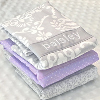 Personalized Burp Cloth Set - Baby Girl Gray and Purple Damask and Polka Dots