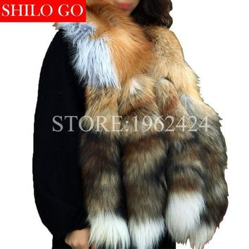 ICIKJG2 Free shipping 2017 winter new fashion women high quality luxury whole skin red fox four tail gold fox fur collar scarf