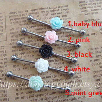 Beatiful Rose Flower industrial barbell, Industrial Barbell, piercing,industrial barbell earring jewelry,