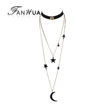 FANHUA 2pcs/set Steampunk Black Suede Fabric Gothic Choker Long Gold-Color Multilayer Chain Necklace Star Moon Pendant Necklace