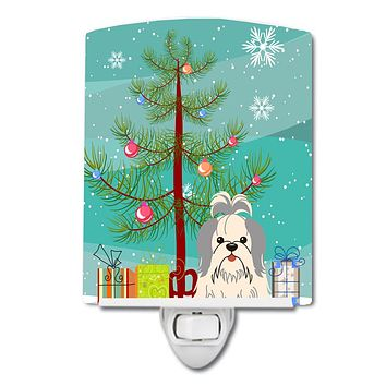 Merry Christmas Tree Shih Tzu Silver White Ceramic Night Light BB4210CNL