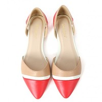 Bamboo Object-43 Colorblock D'orsay Flats | MakeMeChic.com