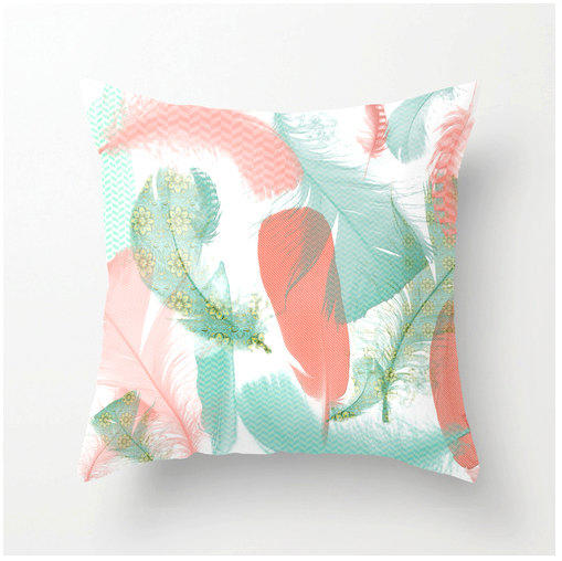 Pastel Feathers Decorative Throw Pillow From