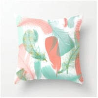 Pastel Feathers Decorative Throw Pillow - home decor - aqua peach coral turquoise - feather design accent cushion