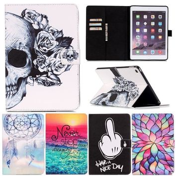 Skull Skulls Halloween Fall For Ipad Mini4 Lovely Cartoon Design Flower  Pattern PU Leather Stand Smart Case Cover for iPad Mini 4 Gen Tablet Cover Calavera