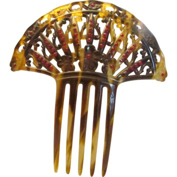 Large Mantilla Faux Tortoise Shell Spanish Hair Comb With Rhinestones