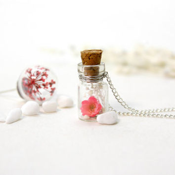 Japanese Style Necklace, Glass Blottle Necklace, Natural Dried Flower, Cherry Blossoms, Small Bottle Necklace,