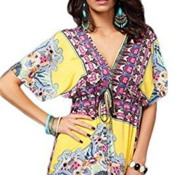 Women's Fashion Floral Print Loose Tops Beach Wear Bikini Cover up Swimwear Swimsuits US One Size Fits Most (D#Yellow)
