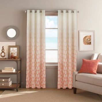 Seascape Grommet Top Window Curtain Panel in Coral
