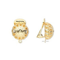 10 Gold 12mm Filigree Ball Clip On Earring Findings #M11163FYE