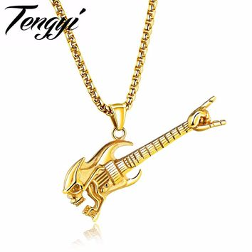 TENGYI Trendy Mens Necklace Guitar/Knife/Microphone/Pliers Pendant Stainless Steel Long Necklace Best Friend Jewelry Gift TY1334
