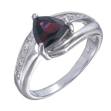 1 Carats Sterling Silver Garnet Ring (0.80 CT)