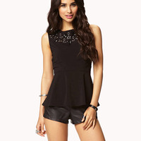 Bejeweled Peplum Top | FOREVER 21 - 2046119826