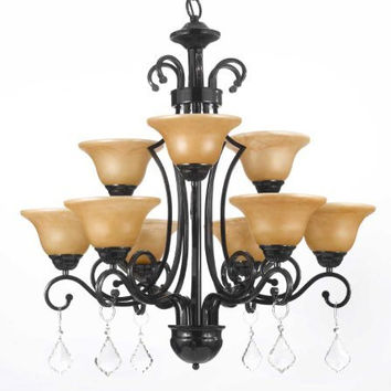 "Wrought Iron Crystal Chandelier Chandeliers H30"" X W28"" - A84-C/451/9"