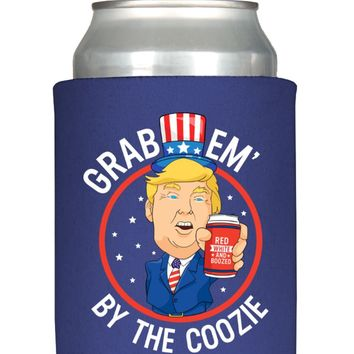 Grab Em By The Coozie 4th of July Funny Trump Can Cooler