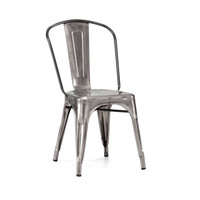Sundsvall Stackable Clear Gunmetal Steel Side Chair (Set of 4)