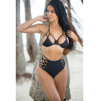 2016 NEW Super Sexy Women Cut Out Hollow Out Bandage Bikini Set High Waist Black Female Swimsuit Plus Size Brazilian Biquini