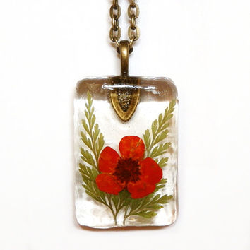 Real Red Flower And Fern Resin Pendant Necklace - Red Flower Resin Necklace - Red Flower Pendant - Red Necklace - Pressed Flower Jewelry