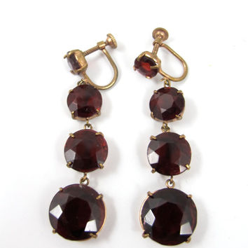 Art Deco Czech Garnet Glass Earrings, Open Back Prong Set Dangle Drop Screw Backs, Rose Gold Vermeil Garnet Jewelry, January Birthstone, 2""