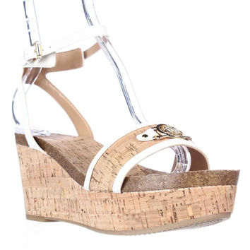Tommy Hilfiger Hesley Wedge Platform Ankle Strap Sandals - White Multi