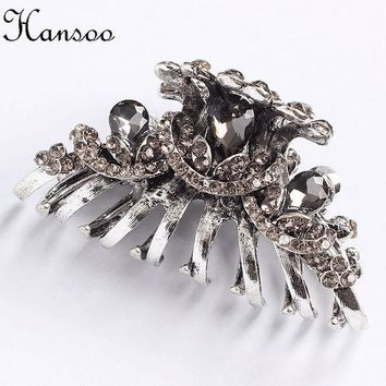 ESBONJ Hansoo 5.5cm hair accessory women Silver color hair claws Crystal women,s hairpin girls hair clips BiBe Hairbands fashion bands