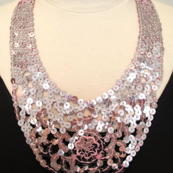 Statement necklace sequin necklace bib necklace pink sparkly necklace ribbon necklace party necklace pale pink-All That Glitters Necklace