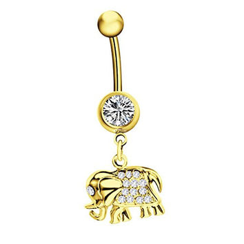 La Penderie 14G Steel Rhinestone Elephant Dangle Navel Ring Body Piercing Jewelry- Great Gift - With Free Gift Box (Gloden)