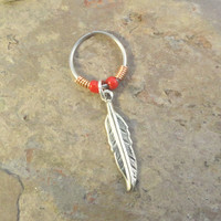 Silver Feather Beaded Cartilage Hoop Earring - You Choose Colors