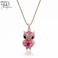 2016 New Arrivals 18K Gold Plated Austrian Crystal Pendant Necklace Fashion Jewelry Crystal Colorful Owl Pendants Women Lady