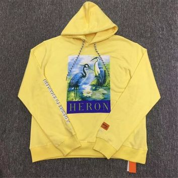 Heron Preston Men Women Pullover Red-crowned Crane Yellow Heron Preston Hoodies CTNNB Embroidery Heron Preston Sweatshirts