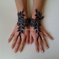 Black lace gloves silver frame bridal gloves lace wedding fingerless gothic gloves burlesque goth dark fusion tribal Lolita prom party