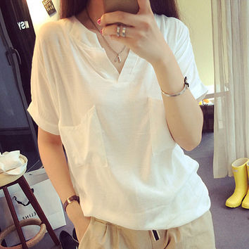 V-neck Short Sleeves Casual Plus Size Pure Color Blouse