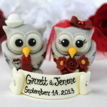 Owl tattooed wedding cake topper, tattooed bride and groom, custom love bird with banner