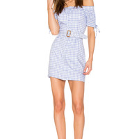 Endless Rose Off The Shoulder Plaid Dress With Belt in Periwinkle Combo   REVOLVE