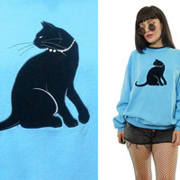 vintage 90s blue cat sweater BLACK CAT slouchy kitten rhinestone oversized pullover sweatshirt jumper medium