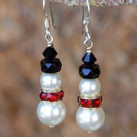 Snowman Christmas Earrings, Handmade Swarovski Pearls Crystals Beaded Holiday Jewelry