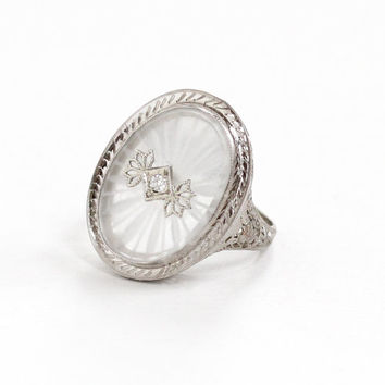Antique 14k White Gold Rock Crystal Diamond Ring - Vintage 1920s Size 5 Filigree Art Deco Rare Camphor Glass Style Fine Statement Jewelry