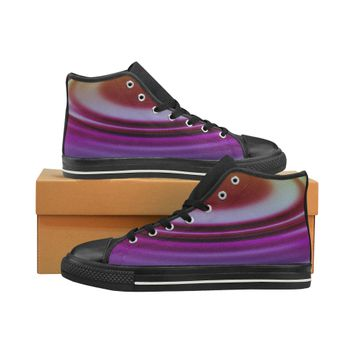 purple ripple High Top Canvas Women's Shoes/Large Size (Model 017) | ID: D2691399