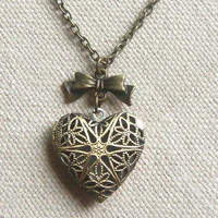 Brass heart locket necklace with bowknot