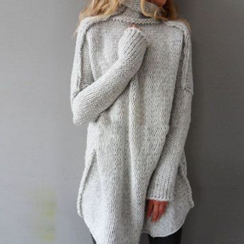 fashion women autumn and winter casual gray irregular pullover turtleneck sweater free gift christmas gift random necklace  number 1