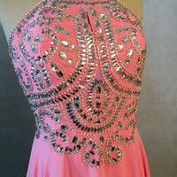 Hot Pink Stunning Crystal Beaded Prom Dresses,Backless Prom Dresses,Long Bridesmaid Dresses,Homecoming Dresses,Evening Dresses