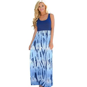 Mode Blue Tie Dye Print Sleeveless Long Boho Dress