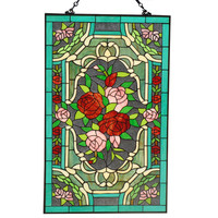 Tiffany Style Roses Stained Glass 32 x 20-inch Window Panel | Overstock.com Shopping - The Best Deals on Stained Glass Panels