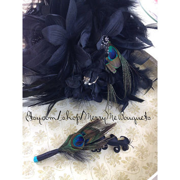 Black hydrangea with peacock feather wedding bouquet. last one