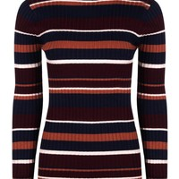 Ella Roll Neck Mixed Stripe Rib Knit Jumper